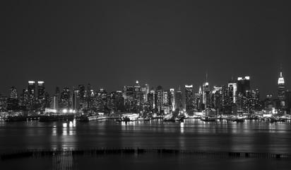 new york city skyline at night, midtown nyc