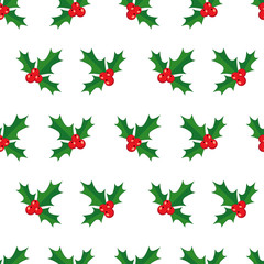 Seamless pattern with holly berry. Vector illustration.