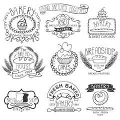 Vintage Bakery Labels.Outline hand sketched