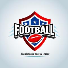 American football logo template, badge, t-shirt, label, emblem. Red, blue, black color version. Vector illustration.