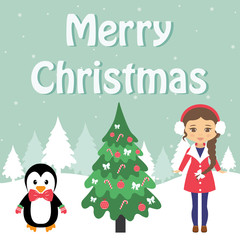 winter card with penguin and winter girl and fir-tree