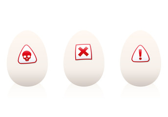 Eggs with danger symbols on it - warning against unhealthy food or nutrition. Isolated vector illustration on white background.