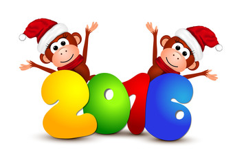 New Year 2016. Postcard with monkeys.