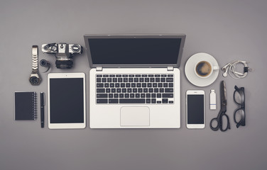 Top view office hipster style mockup desk. Responsive template.