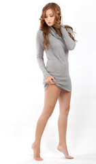 Pretty Young Woman in Sweater Dress