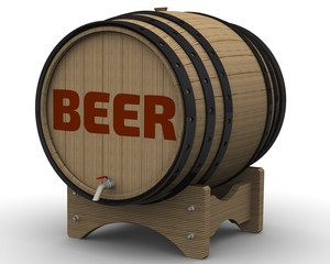 Beer. The inscription on the wooden barrel