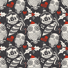 Christmas Hand-drawing Seamless Pattern with Funny Owls, Mistletoe, Berrys and Decor