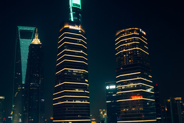 Skyscrapers in Shanghai downtown at night