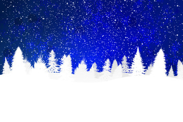 Blue Holiday Background with Snow on Christmas Trees