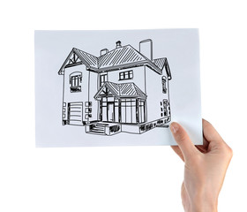 Real estate offer. Female hand holding the house picture