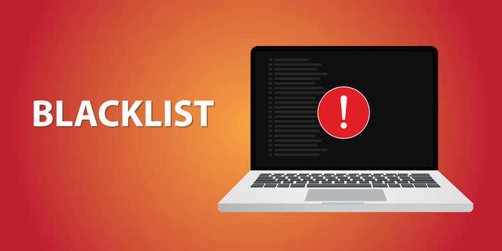 blacklist with danger sign on notebook or laptop