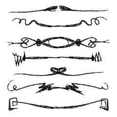 Hand drawn vector line border set and design element.