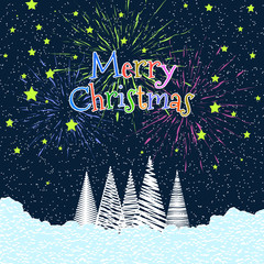 Christmas Greeting Card In Retro Style. Vector Flat Illustration.
