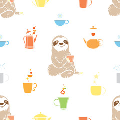 Vector seamless pattern with sloth, cups and teapots on white background.