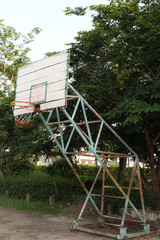 Basketball Hoop and Court With wood White Backboard,street basketball board with the blue sky