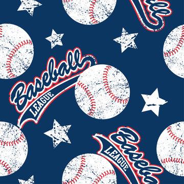 Baseballs and stars seamless pattern
