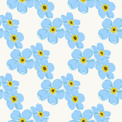 Seamless pattern - forget-me -not patterns on the background in pastel tones