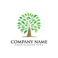grunge tree leaf icon logo