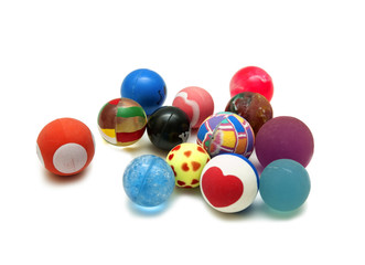 Multi-colored small balls on a white background