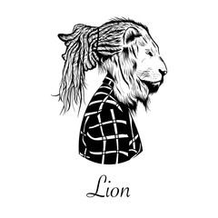 Hand drawn hipster lion head vector illustration