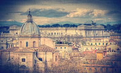 View of Rome. Retro toned photo