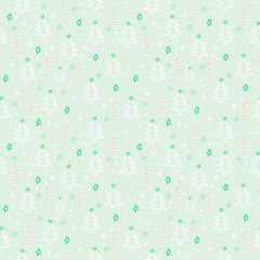 Seamless background with Christmas tree and floral elements. Vector illustration. Happy New Year.