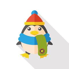 Christmas penguin flat icon