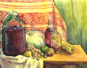 Still life with wine, fruit and vegetables. Watercolor painting