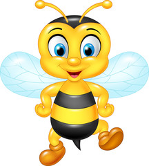 Cartoon funny bee posing isolated on white background
