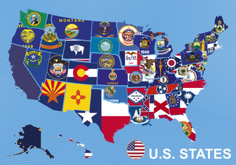 USA map with flags of states, on blue background with Alaska and
