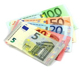 Stack of Euro banknotes isolated