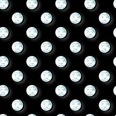Girls diamond sequins on black background in a seamless pattern