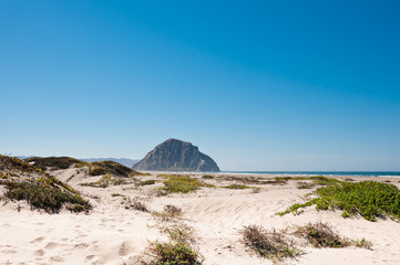 Wall Mural - View from dunes to Morro Rock, California, USA
