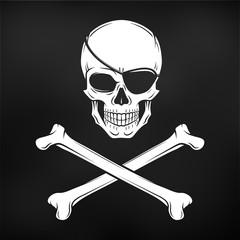 Jolly Roger with eyepatch and crossbones logo template. Evil skull vector. Dark t-shirt design. Pirate black flag concept