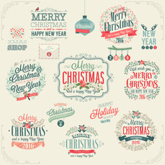 Wall Mural - Christmas set - labels, emblems.