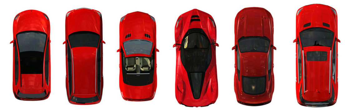 set of real red Cars top view