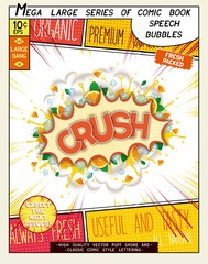 Crush. Colorful explosion with mint leaves, ice, water splashes and clouds of smoke in comic style.. Realistic pop art speech bubble