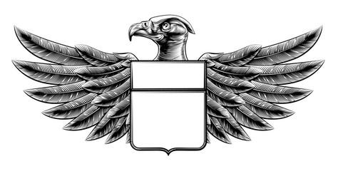 Woodcut Shield Eagle