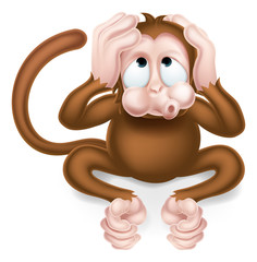 Hear no Evil Cartoon Wise Monkey