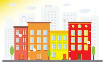 Городской пейзаж с красочными домами. Солнечный город. Векторная иллюстрация