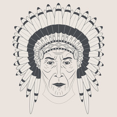 Indian chief in a feathered hat. Front view.