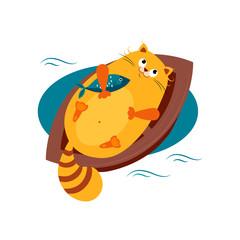 Cat on a Boat Hugging Fish. Vector Illustration