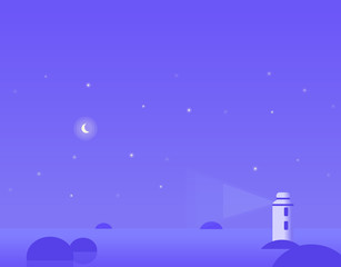 Wallpaper Landscape of Winter Seascape with Moon and Lighthouse, Vector Illustration
