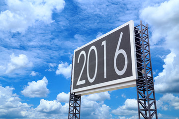 Happy new year 2016 on large sign board