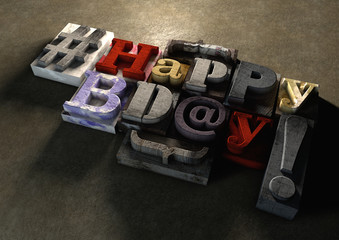 Happy Birthday title in vintage wood block text and hashtag
