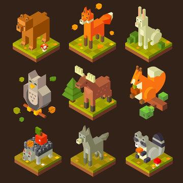 Isometric forrest bird and animal set: bear, fox, hare, owl, deer, squirrel, hedgehog, wolf, raccoon. Flat isometric vector stock set.