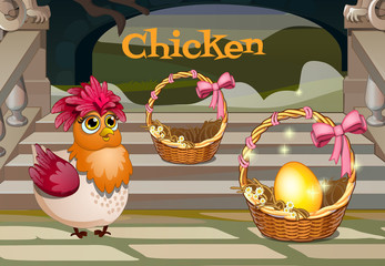Chicken with the golden egg, two baskets on the porch with steps