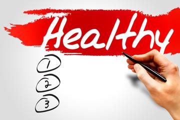 HEALTHY blank list, fitness, sport, health concept