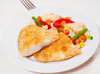 Fried fish fillet and Mixed vegetables