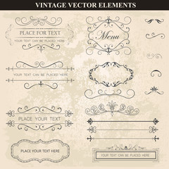 Decorative vintage frames ribbons and borders set vector